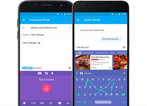 baidus new talktype keyboard app emphasizes voice input over typing typing on small screens can still