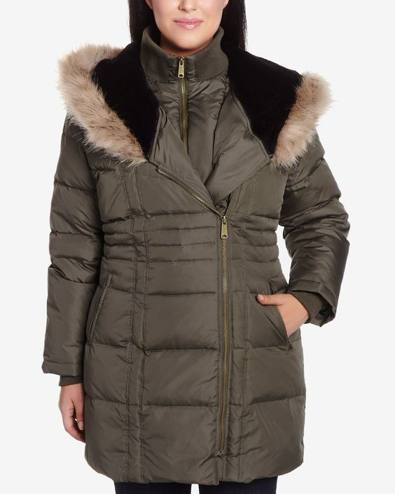 This Plus Size Hooded Parka is made of polyester and filled with down and feathers. It has a front and a side zipper closure and a high, comfortable collar. The hood is styled with a faux-fur trim and a zipper. This coat has a trendy look that will keep you warm all winter.