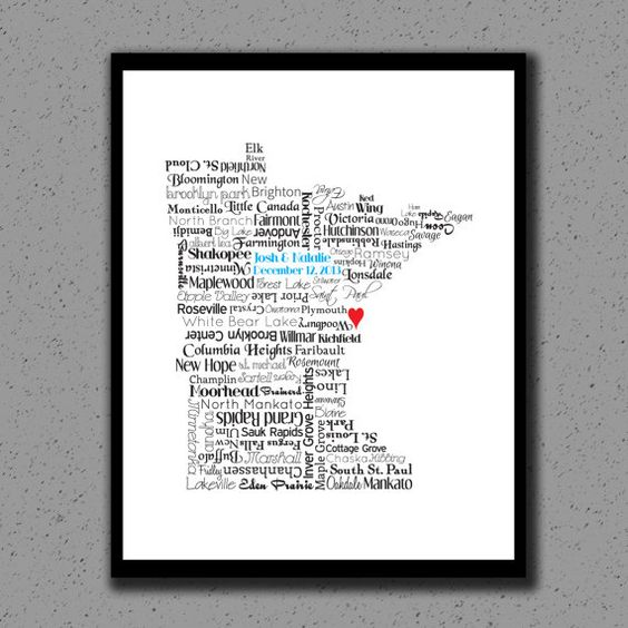 Minnesota Print Minnesota Map MN State Art Wall Decor State – Mn Travel Map