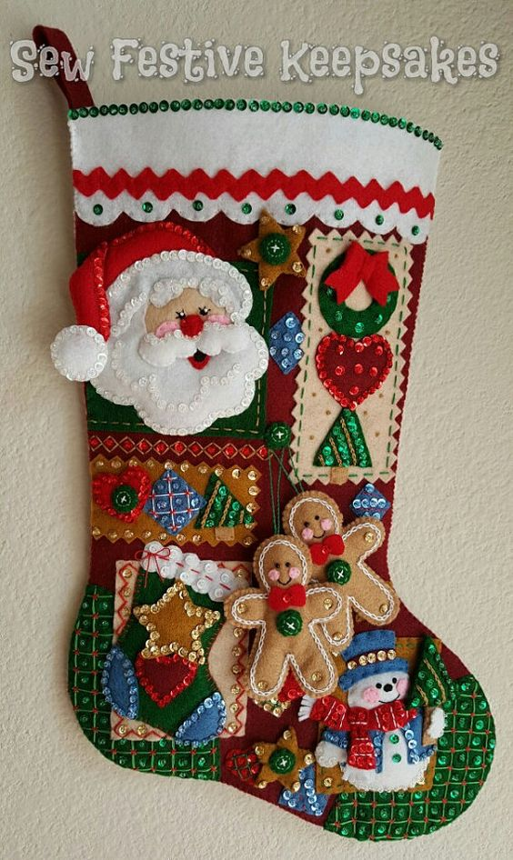 Christmas Stocking Christmas Patchwork by SewFestiveKeepsakes: