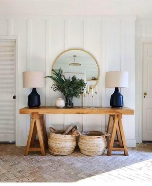 Love This Pretty Entryway Side Console Table With The Brass Round Mirror And Rattan Weave Baskets Under It Console Decoration Home Decor Home Decor Accessories