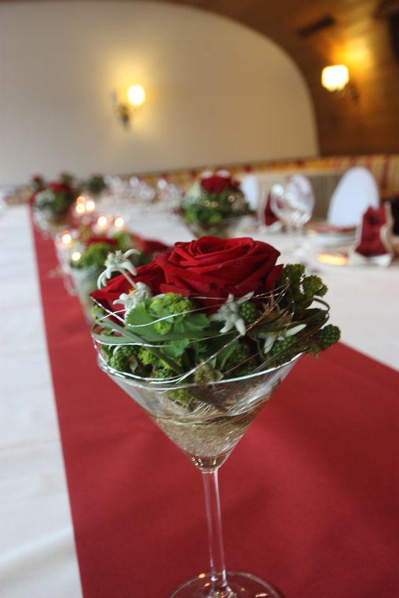 Gesteckt - nicht geschüttelt ;) Martini mal anders; Center piece idea; Hochzeit in Garmisch-Partenkirchen, Riessersee Hotel Resort, Bayern