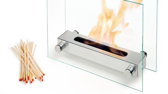 Stainless Steel and Glass Fireplace.