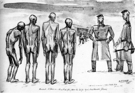 Admission in Mauthausen by David Olère. 1945, 34x23 cm, Ghetto Fighters House, Israel.  In January of 1945, prisoners admitted to Mauthausen were forced to stand in the snow for three hours after a freezing shower. Olère was sent to Mauthausen after his evacuation from Auschwitz in a death march.