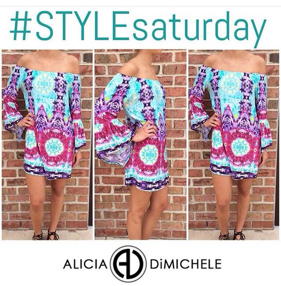 """#STYLEsaturday! Our second #PickOfTheDay is our JUST IN off the shoulder tunic! It's the perfect summertime print! This is a must have for your weekend down the shore or summer vacation!  SEARCH: •Kaleidoscope Tunic  SHOP: www.aliciadimichele.com USE: promo-code """"FREESHIP"""" to get your items without paying a shipping fee!"""