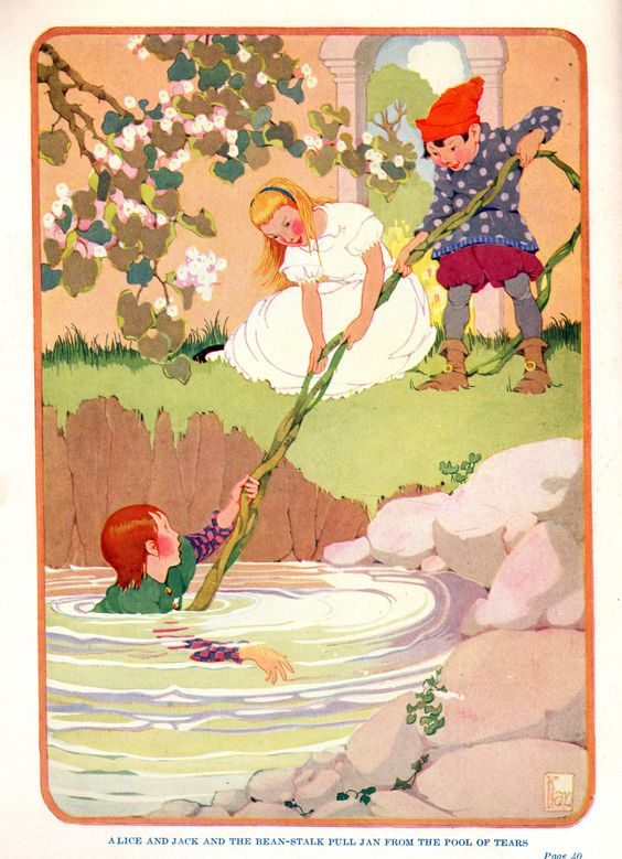 "Alice and Jack use the beanstalk. ""Through the Could Mountain"" by Florence Scott Bernard. Illustrated by Gertrude Kay. Copyright 1922 by J.B. Lippincott Company.:"