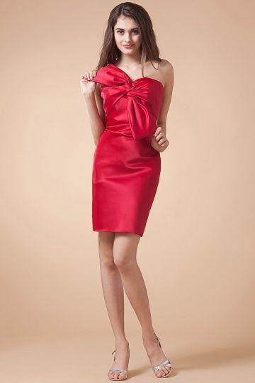 Petite robe rouge de cocktail fourreau bustier à nœud papillon – JMRouge.fr