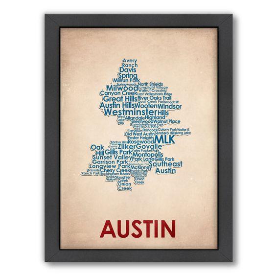 Austin Word Map 100 Original Design from Flatiron by FlatironD