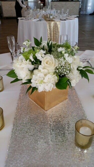 White and gold centerpieces bella flora