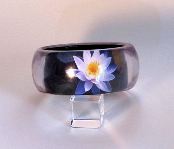 Water Lily Bangle in Resin. Hand crafted by HeronsFeathers on Etsy, $72.00