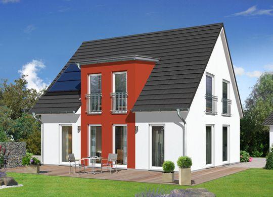 fehér színű családi ház élénk vörös kiemeléssel