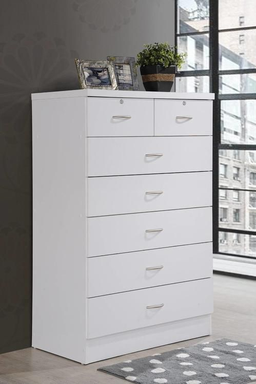 Hodedah 7 Drawer Chest With Locks On 2 Top Drawers In White 197 56 White Chest Of Drawers Bedroom Collections Furniture Chest Of Drawers White wooden chest of drawers