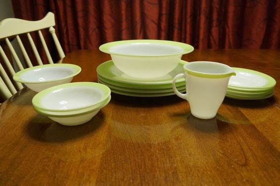 Vintage Lime Green Pyrex: Plates, bowls, Creamer, Saucers - Some Rare Pieces