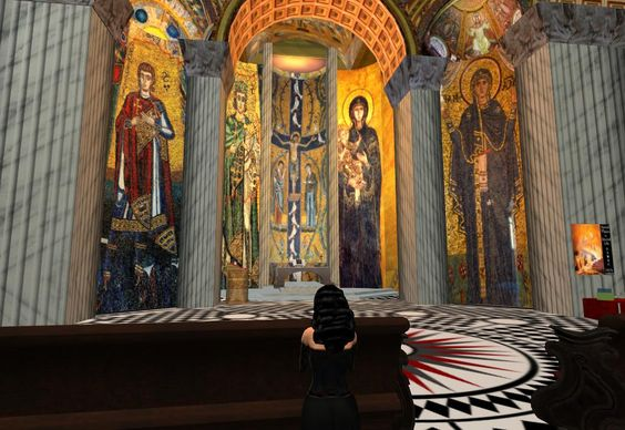 Inside a cathedral in Second Life