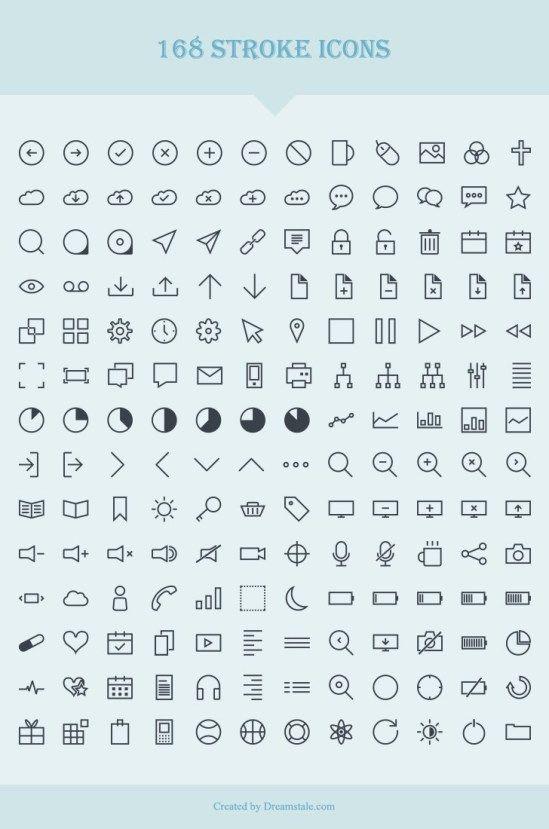 168 Stroke Icones Vector Icons Free Web Icon Vector Web Design Freebies
