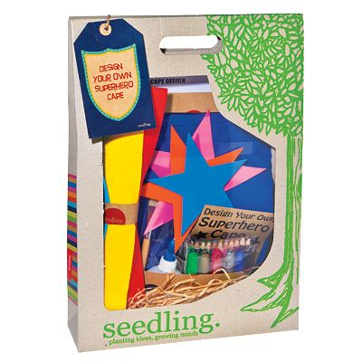 What kid wouldn't love this? Seedling Design Your Own Superhero Cape Kit