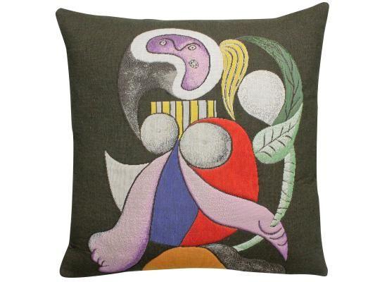 Coussin représentant le tableau femme à la fleur de Pablo Picasso.