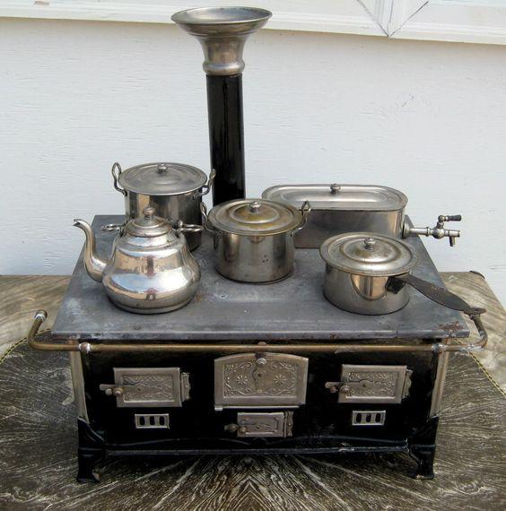 Rare antique marklin childs stove w/alcohol burner & all utensils ...