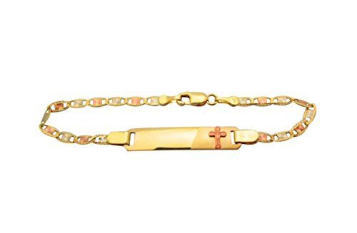 Amz Jewelry Children S Babies 10k Tri Gold Valentino Link Id Bracelet 5 5 In With Cross