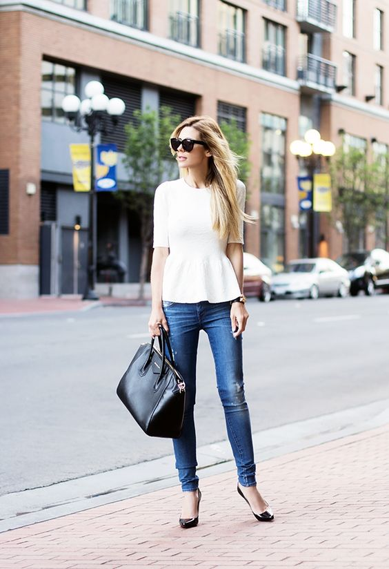 Native Fox - recreate with orange peplum top and distressed jeans: