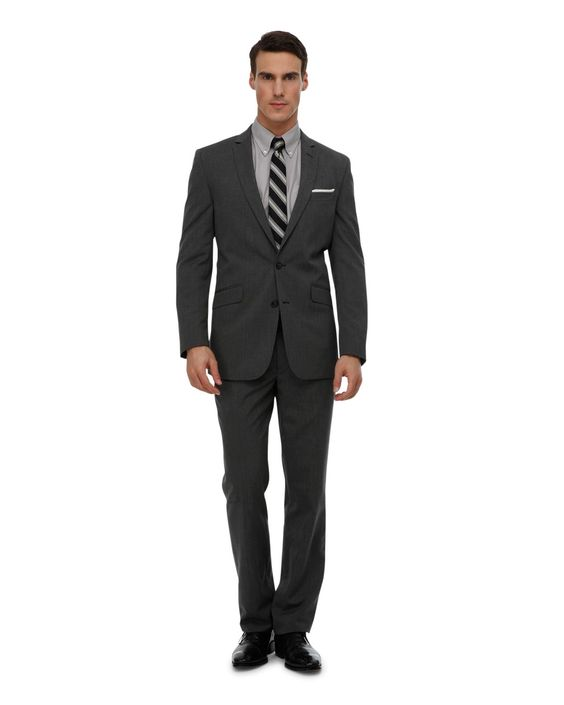 Suit up! with this KENNETH COLE REACTION 2-Piece Grey Pindot Suit