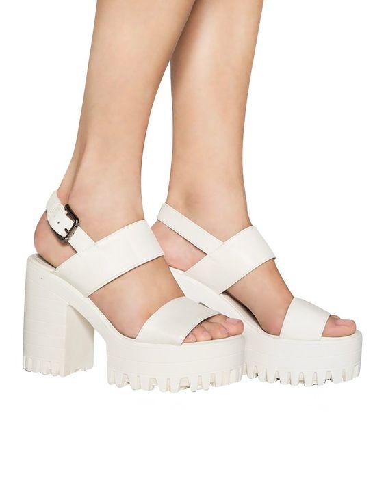 White Lug Sole Sandals - Chunky Heel Platform Shoes - $58 | Shoes ...