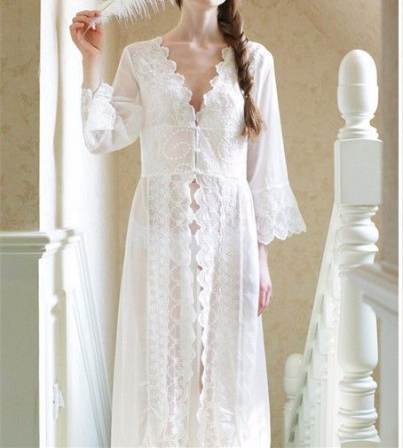New Nightgowns Maxi Lace Robe Sexy Sleepwear Long Bathrobe Women Kimono Dressing Gown Nightgown Lingerie Camisola Sleep Lounge -in Robes from Women's Clothing & Accessories on Aliexpress.com | Alibaba Group