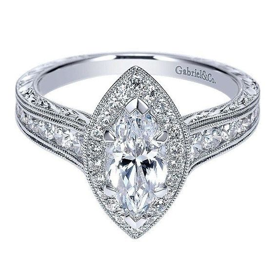 14K White Marquise Halo Diamond Engagement Ring with Engraved Shank