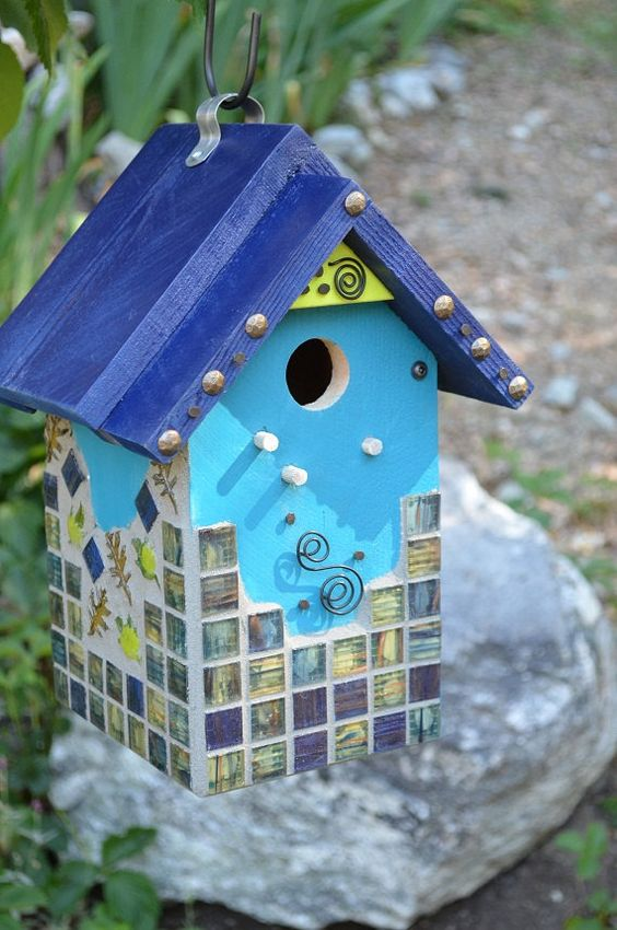 Birdhouse handmade mosaic glass decorative functional for Decorative birds for outside