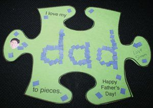 """I love my dad to pieces!"" Father's Day card. FREE template. Blank pattern included so you can also use for Secretary's Day, Mother's Day, or a special volunteer."