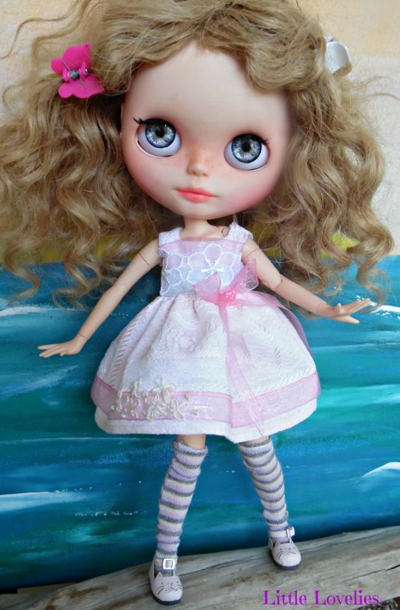 BLYTHE Doll Dress - OOAK - Pink Vintage Linen & flocking with hand embroidered roses on bodice by CooeeChris on Etsy