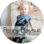 A Free PDF Pattern for the Penny Playsuit. A one piece playsuit with gathered bodice and exposed back zipper.