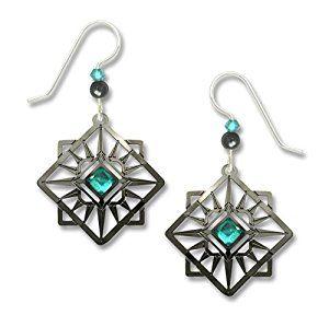 Adajio by Sienna Sky Dark Gray Plate Compass Star Earrings 7614 | Amazon.com
