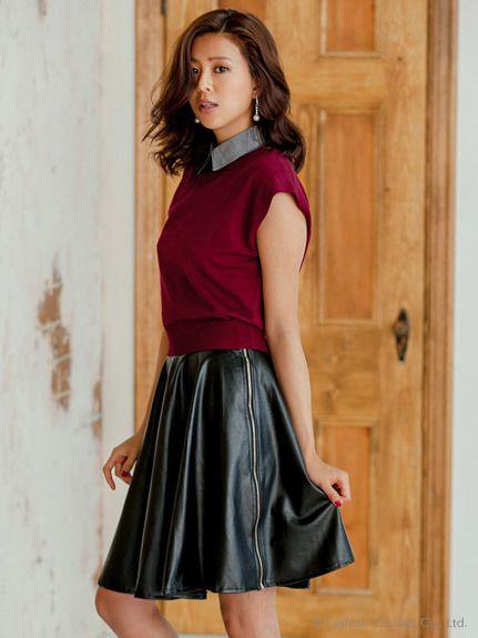 ShopStyle(ショップスタイル): fifth ECURY]フェイクレザーフレアスカート/Leather Skirts picks on ShopStyle / エッジーなコーディネートができるトレンドのレザースカートをエディターがセレクト!