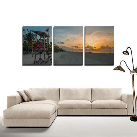 3 Panel Canvas Print Wall Art Sunrise Beach Wall Art Prints