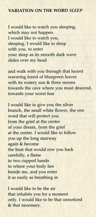 typewriterblues:  Variation On The Word Sleepby Margaret Atwood