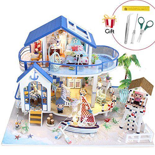 Dollhouse Kit Miniature Creative Chinese Palace w//Furniture LED Lights