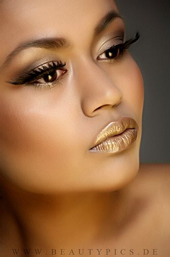 A yellow and bronze look for an evening or special event ...