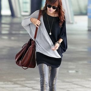 $4.05 Women's Trendy Color Blocked Loose Fitting Long Sleeve T-Shirt with Batwing Sleeves