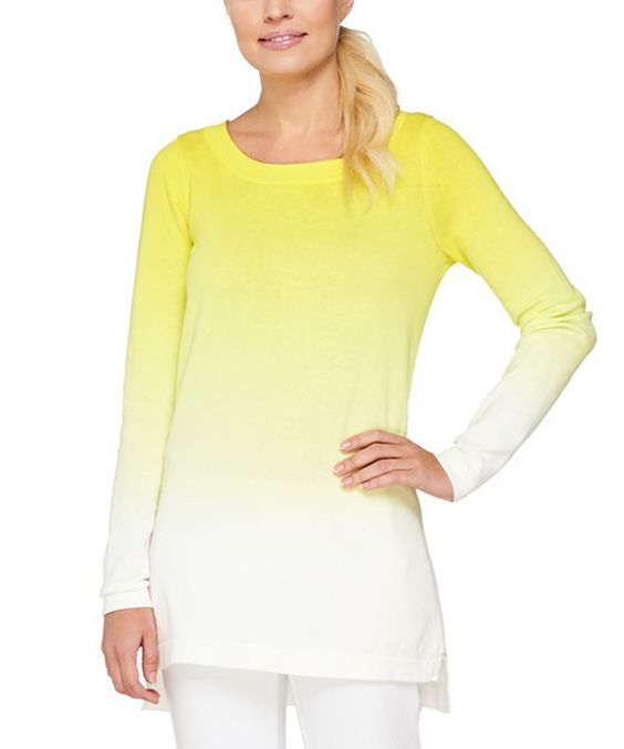 This Lemonade Dip-Dye Boatneck Sweater - Plus Too by Isaac Mizrahi Live! is perfect! #zulilyfinds