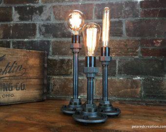 Edison cuadro lámpara de mesa Industrial por newwineoldbottles