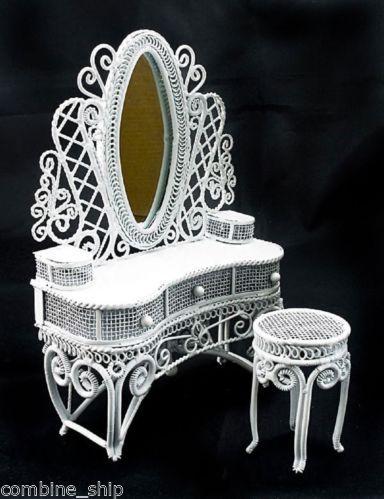 White Wire Vanity Mirror + Chair 1:12 Doll's House Dollhouse Furniture Set MIB