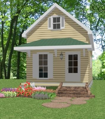 Loft cottages and porch roof on pinterest for Mother in law cottage plans