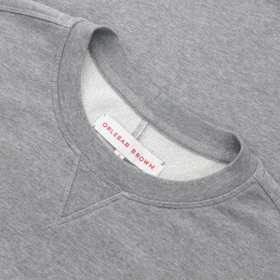 Orlebar Brown Morley - Stripe Mid-Grey Melange Luxury Crew Neck Sweatshirt - Stripe (Mid-Grey Melange)