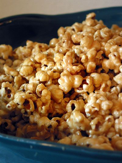 Peanut Butter Popcorn. This stuff is super yum to the tum, but I'd recommend doubling the amount of popcorn and halving the rest of the ingredients.