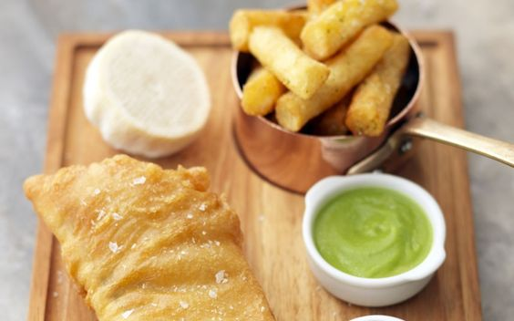Beer-battered fish and chips with homemade tartar sauce and pea purée - Tom Kerridge