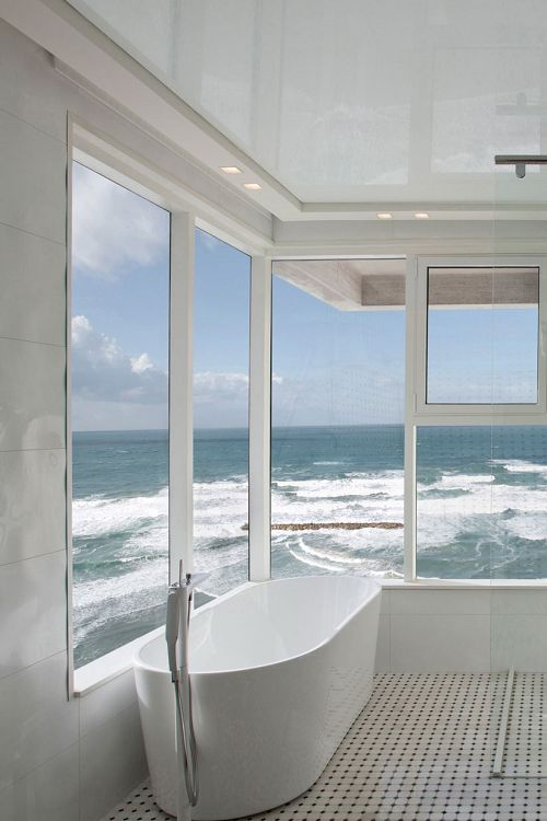 Luxury bath with ocean view, if I win lotto I would have this built