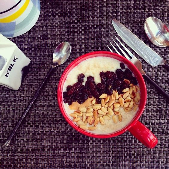 Breakfast at the W! Oatmeal Porridge with Honey, Peanut Butter, Pine Nuts and Raisins!  #fitfamindo #fitfam #fitspo #fitfood #whotel #Padgram