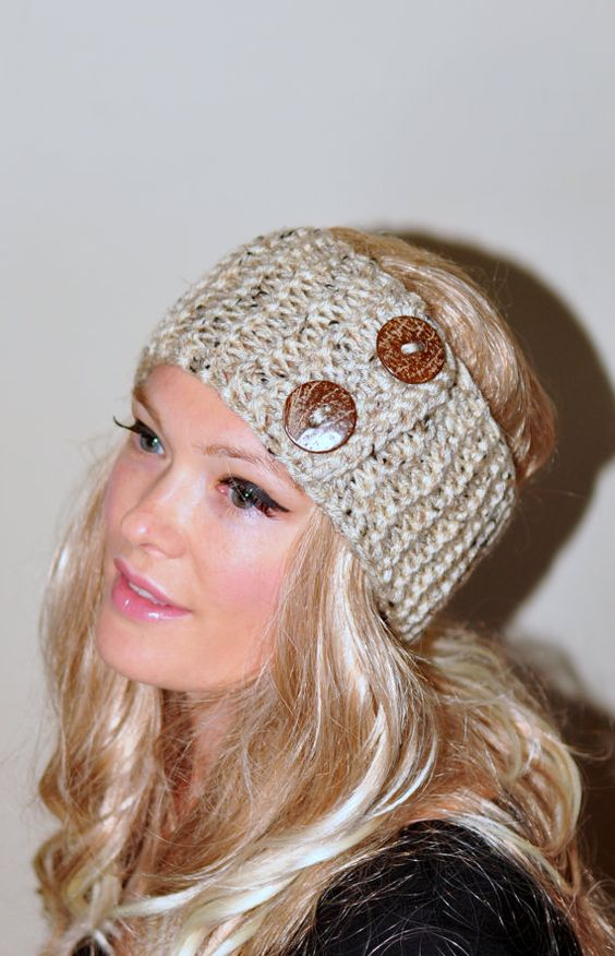 Free Crochet Pattern Headband Ear Warmer Button : Earwarmer Buttons Head wrap Crochet Headband Ear warmer ...