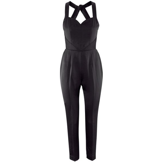 H Satin jumpsuit ($62) ❤ liked on Polyvore
